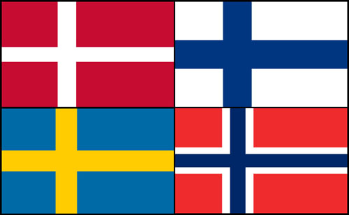 Denmark Finland Sweden Norway flags 2