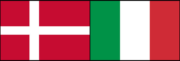 Denmark and Italy flags