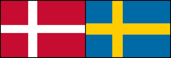 Denmark and Sweden flags