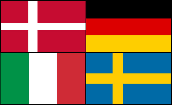 Denmark Germany Italy Sweden flags